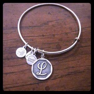 Silver Alex and Ani L bracelet